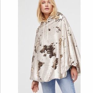 NWT Free People Stay Golden Sequin Poncho